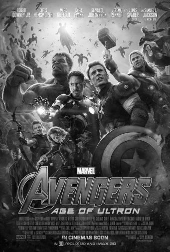 Avengers Age Of Ultron black and white poster