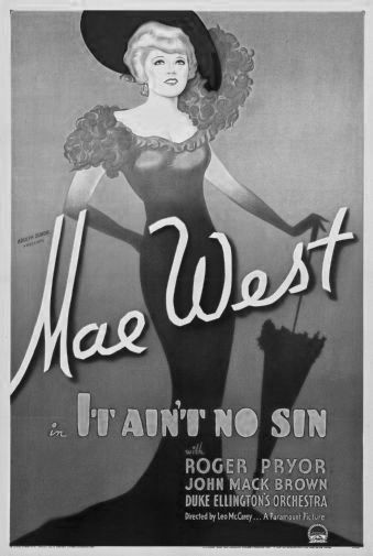 Mae West It Aint No Sin black and white poster