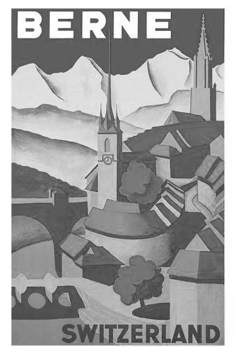 Switzerland Berne black and white poster