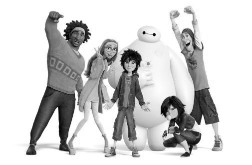 Big Hero 6 black and white poster