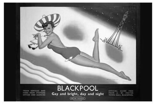 England Blackpool black and white poster