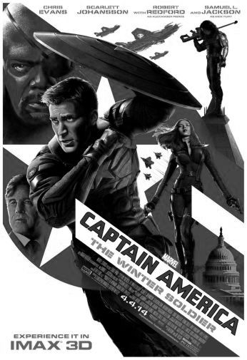 Captain America Winter Soldier black and white poster