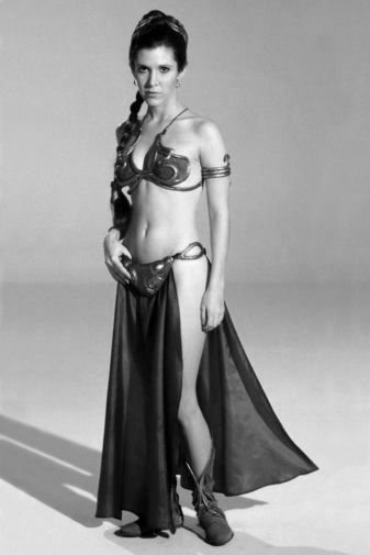 Carrie Fisher black and white poster