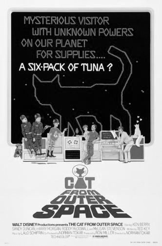 Cat From Outer Space black and white poster