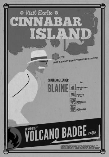 Cinnabar Island black and white poster