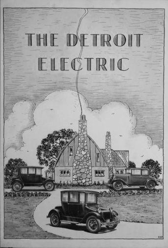 Detroit Electric black and white poster
