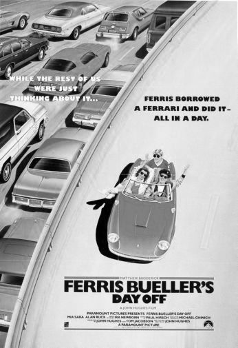 Ferris Buellers Day Off black and white poster