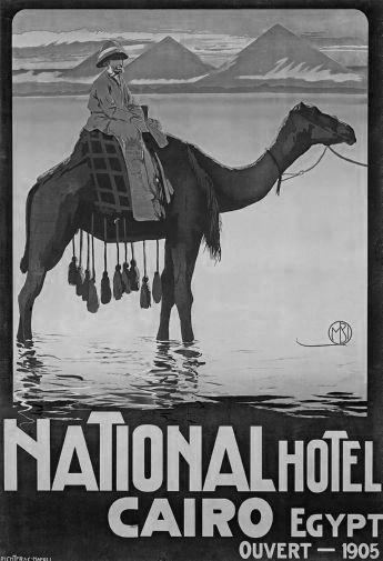 Egypt Hotel Cairo 1905 black and white poster