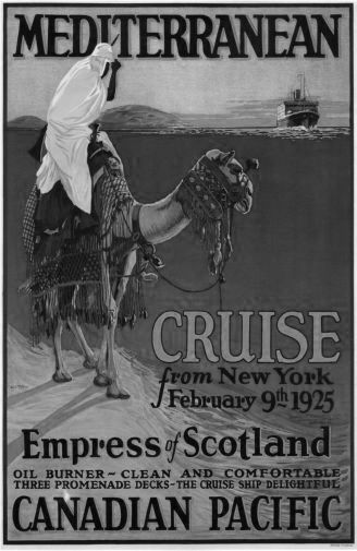 Canadian Pacific Mediterranean Cruise Lines 1925 black and white poster