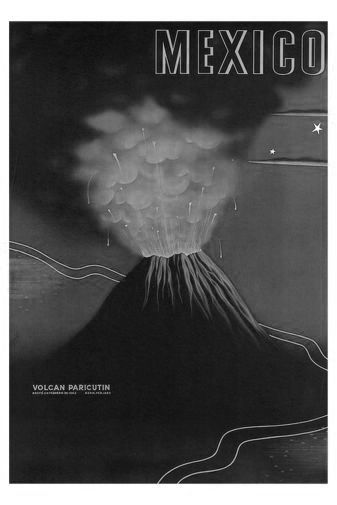 Mexico Volcano black and white poster