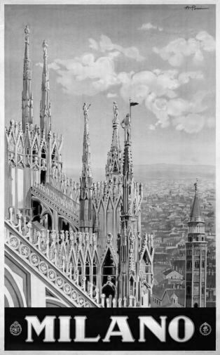 Italy Milano 1920 black and white poster