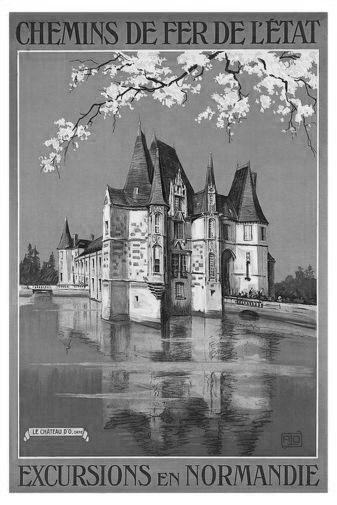 French Railway black and white poster