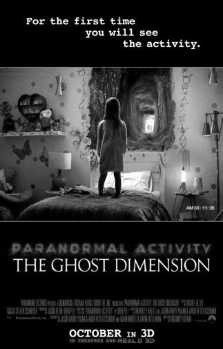 Paranormal Activity Ghost Dimension black and white poster