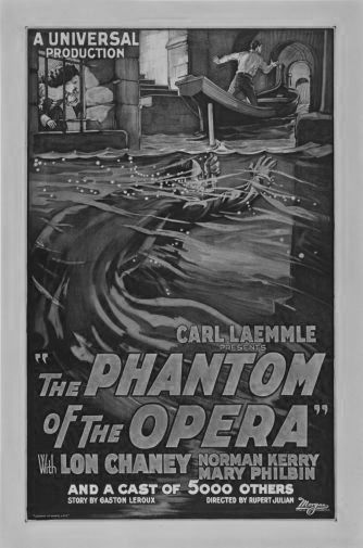 Phantom Of The Opera black and white poster