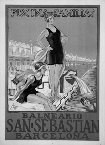 Spain Tourism Advertising  black and white poster