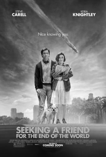 Seeking A Friend For The End Of The World black and white poster