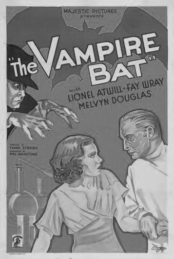 Vampire Bat black and white poster