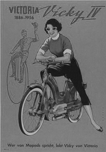 Vicky Motorcycle 1956 black and white poster