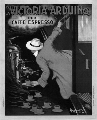 Victoria Arduino Coffee 1922 black and white poster