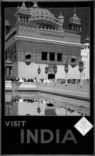 India Tourism  black and white poster