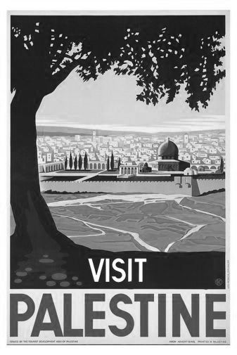 Visit Palestine black and white poster