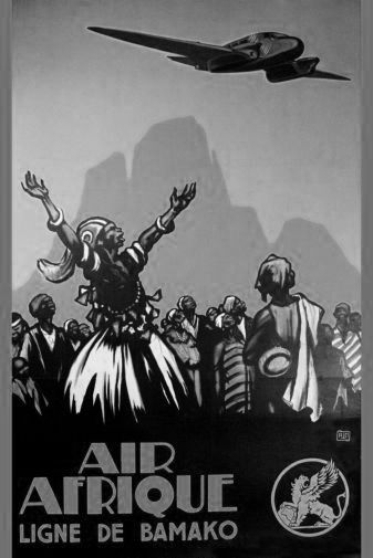 Air Afrique black and white poster