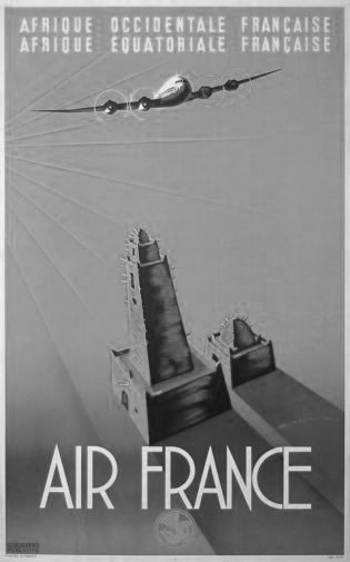 Air France  black and white poster