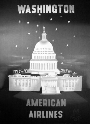 American Airlines Washington Dc black and white poster