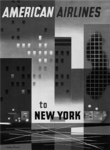 American Airlines New York black and white poster
