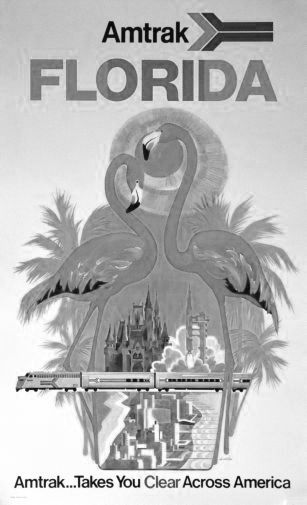 Florida Amtrak black and white poster