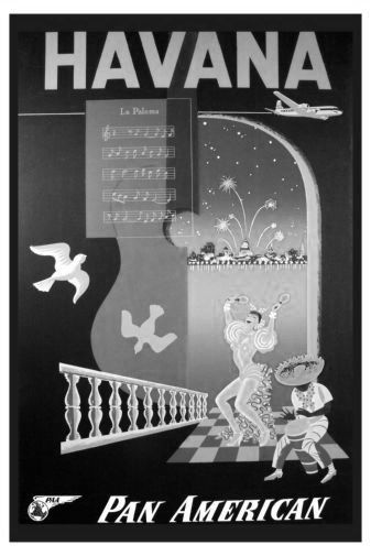 Pan Am Airlines Havana Cuba black and white poster