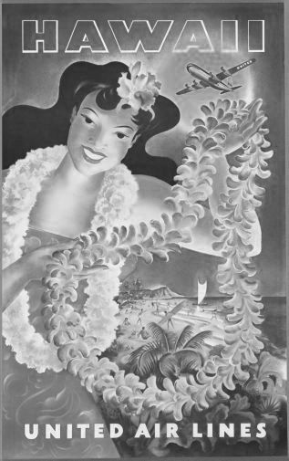 United Airlines Hawaii black and white poster