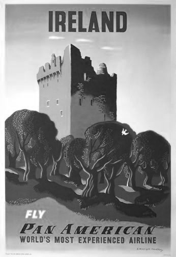 Pan Am Airlines Ireland black and white poster
