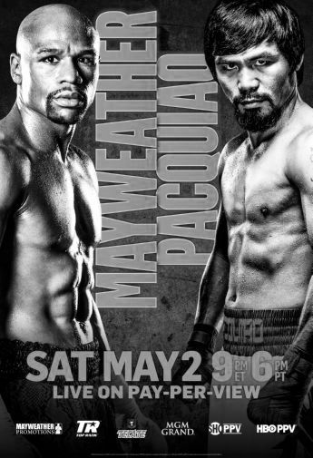 Mayweather Pacquiao black and white poster