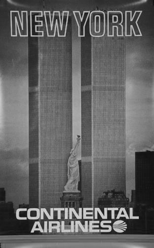 Continental Airlines Ny Twin Towers black and white poster
