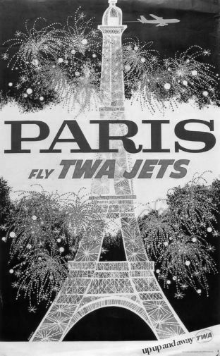 Twa Airlines Paris Eiffel Tower black and white poster