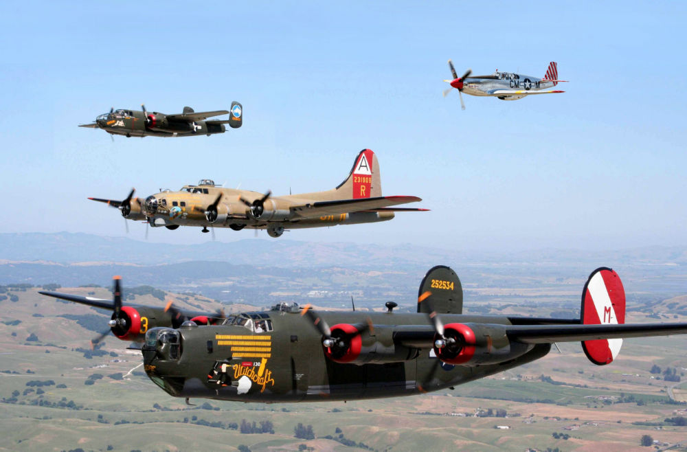 WW2 Airplane Formation Military Aviation Poster 24x36