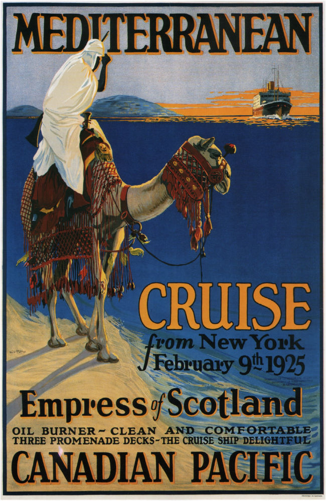 Canadian Pacific Mediterranean Cruise Lines 1925 poster
