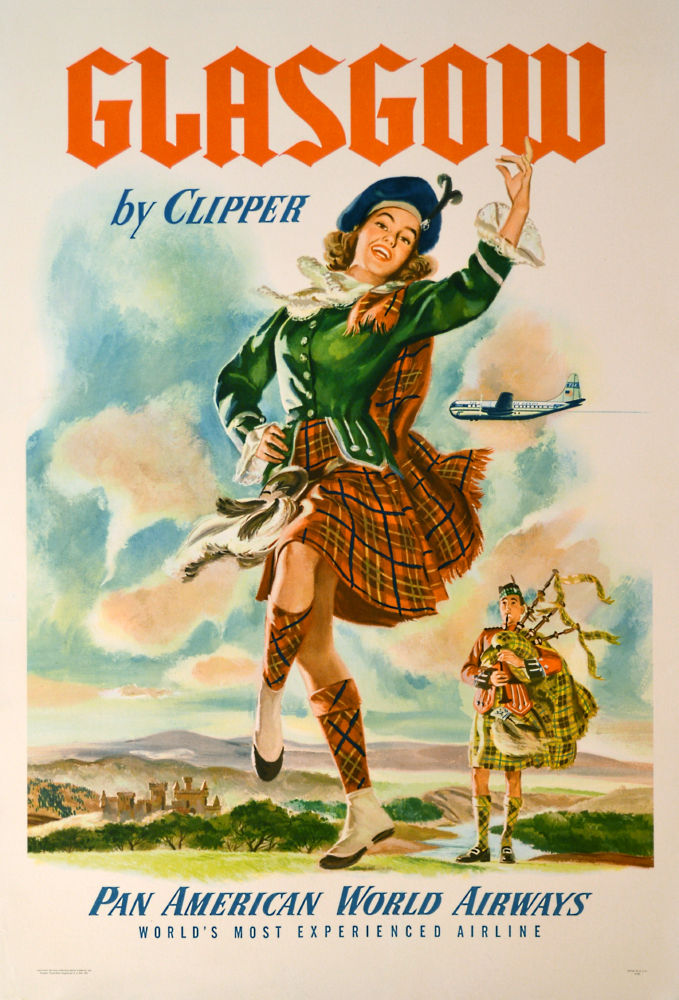 Pan Am Airlines Glasgow poster