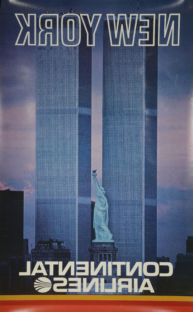 Continental Airlines Ny Twin Towers poster