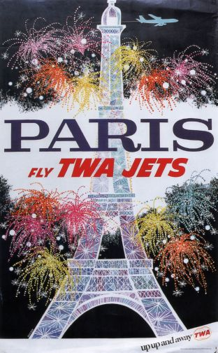 Twa Airlines Paris Eiffel Tower poster
